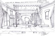 Sketches by HARLAN D. PENN - SCENIC DESIGNER at Coroflot.com Stage Set Design, Set Design Theatre, Royal Ballet, Computer Sketch, Architecture Drawing Sketchbooks, Body Painting, Scenic Design, Art Drawings Sketches, Funny Art
