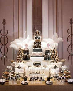 GC Couture Luxury Dessert Table Indulgence Bar Cake At Claridge's, Mayfair White Dessert Tables, Black Dessert, Buffet Dessert, Roaring 20s Birthday Party, Gatsby Themed Party, Great Gatsby Party, Cake Table Birthday, White Birthday Cakes, 17 Birthday