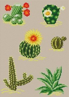 Easy Cross Stitch Patterns, Embroidery Patterns Free, Cross Stitch Charts, Beaded Embroidery, Cross Stitch Embroidery, Hand Embroidery, Cactus Cross Stitch, Mini Cross Stitch, Cross Stitch Needles