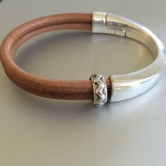 Silver Half Cuff and Leather Bracelet by joytoyou41 on Etsy