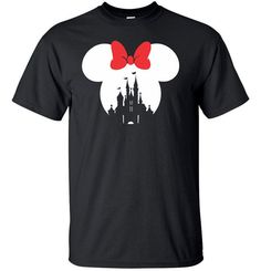 Mickey Mouse or Minnie Mouse Disney Castle T Shirt  *** Please leave a note to seller when checking out if you would like Mickey Mouse or Minnie Mouse, if you do not specify, it will be made in Mickey Mouse design. ***  Gildan Ultra Cotton Tee 6 oz, Pre-Shrunk 100% Cotton.