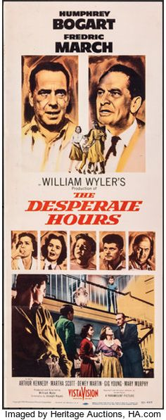 The Desperate Hours (Paramount, Folded, Fine/Very Fine. Insert X Film Noir. Starring - Available at Sunday Movie Posters Weekly. Bogart And Bacall, Humphrey Bogart, Old Movies, Vintage Movies, Film Music Composers, Bogart Movies, Gig Young, Chill Songs, Road Trip Playlist