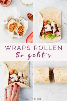 Vegan tortilla wraps with BBQ chickpeas-Vegane Tortilla Wraps mit BBQ Kichererbsen Vegan wraps filled with roasted chickpeas, BBQ sauce, lettuce, and tomatoes – a delicious tortilla wraps recipe for in between or as a light dinner. Healthy Meat Recipes, Beef Recipes, Vegetarian Recipes, Chickpea Wraps Recipe, Chickpea Sandwich, Wrap Fillings, Oven Roasted Chickpeas, Vegan Tortilla, Healthy Tortilla Wraps