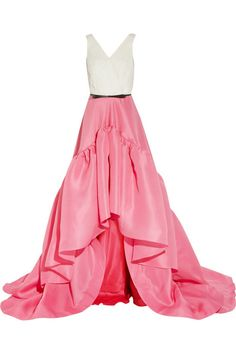 Jason Wu Spring 2012-Silk Chiffon and Silk Gazar Belted Pink Gown.