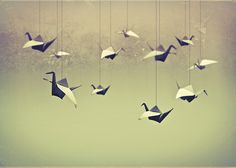Origami Birds - to hang in the forest?