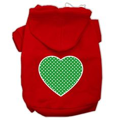 Green Swiss Dot Heart Screen Print Pet Hoodies Red Size Sm (10)