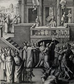 Phillip Medhurst presents John's Gospel: Bowyer Bible print 5534 Jesus is arraigned before Pilate John 18:28-30 Passeri on Flickr. A print from the Bowyer Bible, a grangerised copy of Macklin's Bible in Bolton Museum and Archives, England.