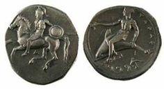 Μεγάλη Ελλάδα, Τάρας Μινώα, 340-335 π.Χ., Νόμος (νόμισμα) με ιππέα πολεμιστή και άντρα που πίνει από κύπελλο κάτι πάνω σε δελφίνι (ίσως ο Διόνυσος,ο θεός της ναυτίας, την οποία φέρνει το ποτό και η θάλασσα).  Ο Τάρας ήταν γιος του Ποειδώνα και της Σάτυρας, κόρης του Μίνωα.
