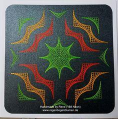 Fadengrafik - GrußKarten - Set mit dem abgebildeten Fadengrafik-Motiv gearbeitet mit Ultra-Neon-garn (leuchtet im UV-Licht)  bestehend aus: 1 Doppelkarte / Klappkarte im Format 13,5 x 13,5...