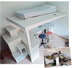 Soppalco fai da te in legno con scrivania annessa