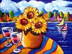 Sunflowers Sailboats Wine Whimsical Still by reniebritenbucher