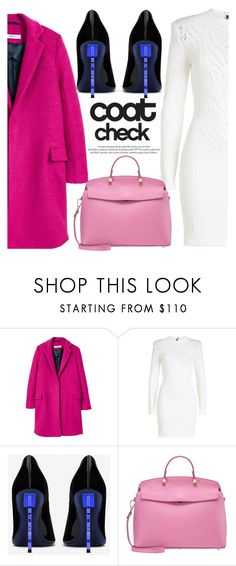 """Go Bold: Statement Coats"" by blackadonia ❤ liked on Polyvore featuring MANGO, Balmain, Yves Saint Laurent, Furla, Louis Vuitton and statementcoats"