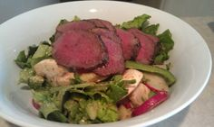 Broiled venison salad with mustard vinegrette