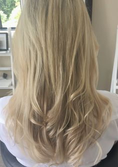 An example of hair extensions used for thickness. It actually looks like we coloured the hair, but this look is achieved by only using blonde tape hair extensions and cut and styled to blend.