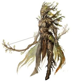 The Sylvari of Guild Wars ent tree person female magic art fantasy bow arrow Fantasy Races, Fantasy Rpg, Fantasy Artwork, Fantasy World, Forest Creatures, Mythical Creatures, Character Inspiration, Character Art, Character Concept