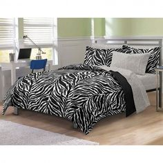 Queen Size Bed in a Bag Black and White Zebra Print Design 7 Piece Bedding Set