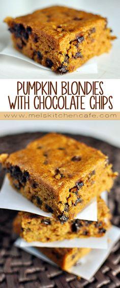 Pumpkin Blondies with Chocolate Chips.