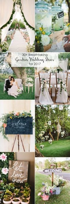 top 30 brilliant garden themed wedding ideas for 2017 trends: drink stations, chair deco, hanging candleholders, welcome sign 2017 Wedding Trends, Wedding 2017, Wedding Themes, Trendy Wedding, Wedding Colors, Rustic Wedding, Wedding Ceremony, Our Wedding, Wedding Flowers