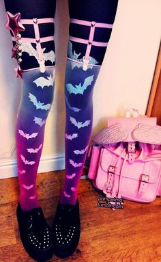 Harajuku pastel goth omg b/w leggings with that hose on top! next on my list! minus the bats...