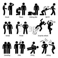 Human Man Action Emotion Stick Figure Pictogram Icons photo