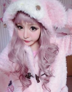 • street style purple hair pastel hair pink hair moko Japanese Fashion street fashion Gyaru lilac hair pastel goth jfashion chinese net idol Chinese ulzzang fei zhu liu fzl longmaozhinv harajuku style l-u-n-e •