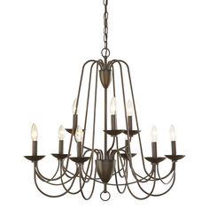 Shop allen + roth Wintonburg 28-in 9-Light Aged Bronze Williamsburg Candle Chandelier at Lowes.com
