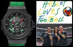 Se juega Brasil 2014 y juega México. La selección azteca está ligada con la casa Hublot Genève desde el 2007 y para este Mundial le dedicó el modelo Aero-Big Bang.