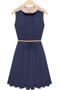 Navy and Blush Pleated Chiffon Dress