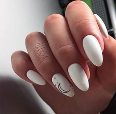 Amazing White Gel Nail Art Design Ideas Amazing White Gel Nail Art Design Ideas Professionally performed and how to shape nails coffin pattern on nails can be done not only with the help of brushes, but also with the help of dots. This manicure tool is White Gel Nails, Black White Nails, Cute Acrylic Nails, White Manicure, White Almond Nails, Nail Pink, Ombre Nail, Orange Nails, Black And White Nail Designs