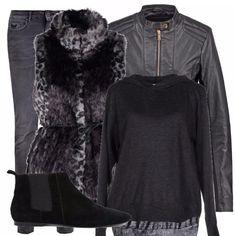 Ecco un look molto fashion! Il gilet di pelliccia in stampa maculata abbinato ad un giubbottino di pelle e dei jeans scuri ti faranno sentire subito alla moda (oltre a non farti sentire freddo!)