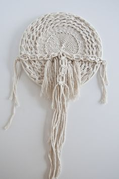 As I just talked about, I purchased some cotton macrame string that I wanted to try weaving with. It weaves up really beautifully and even though the string is Amigurumi Patterns, Crochet Patterns, Loom Weaving, Weaving Techniques, Decoration, Knots, Crochet Hats, Crafts, Wall Hangings