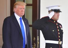 President Donald Trump waits for the arrival of Prime Minister Saad Hariri of Lebanon at the White House in Washington, D.C. on July 25,…