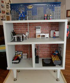 Make a superhero house! Like a dollhouse for boys, so fun!