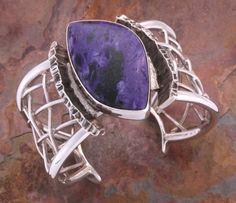 Cuff | Ric La Ban.  Sterling silver and Charolite from Siberia.