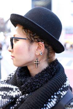 Shibuya Girl in Glasses, Bowler Hat, Long Knit Sweater & Boots    http://tokyofashion.com/shibuya-girl-glasses-bowler-hat-long-knit-sweater-boots/