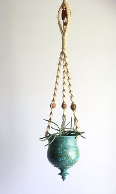vintage hanging pottery planter / teal on Etsy