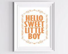Boy Room Art Print  Hello Sweet Little Boy  Orange by TheWallaroo, $13.00