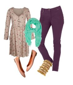 Cute Mid-Length Shirt Teal Scarf With Purple Skinny Jeans
