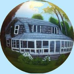 Hand_Painted_Christmas_Ornaments_House_Portraits Painted Christmas Ornaments, Personalized Christmas Ornaments, Portraits, Hand Painted, Clouds, Gifts, House, Painting, Presents