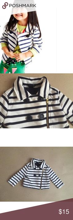 Baby Gap Nautical Moto jacket Tooooo cute to die for jacket. Listing as good condition because knit fabric shows wash wear. You will take ton of great chic pictures in this jacket :)) Baby Gap Dresses