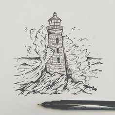 """Wrapping up the lighthouse drawing."" Lighthouse- Bold black and White Waves- Blue ink, white paint as foam"