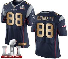 Nike Patriots #88 Martellus Bennett Navy Blue Team Color Super Bowl LI 51 Men's Stitched NFL New Elite Gold Jersey