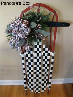 The Holiday Sled w black and white check