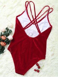 39b346397 Double Cross Straps Velvet Backless Swimsuit