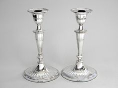 PAIR ANTIQUE SILVER CANDLESTICKS / CANDLE HOLDERS SHEFFIELD 1907 / 8 John Bull Antiques Antique Silver Dealer www.antique-silver.co.uk London, UK