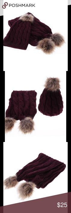 Red Wine/Burgundy Fur Ball Pompom Hat & Scarf Set No Trades Price Firm Accessories Hats