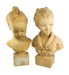 Vintage Pair of Cast, Victorian, Children, Large Bust Statues.  Item: Busts  Brand: Unmarked  Model: Victorian Boy Girl Children  Material: Dimensions: 15 H. These are VERY Heavy. Shipping weight is nearly 23 Pounds.  Condition: Excellent. No chips, cracks, breaks, or repairs.  Please See Photos.