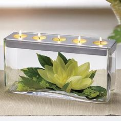 Customizable Tealight Candle Centerpiece with silk flowers. BEAUTIFUL!