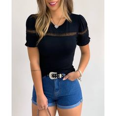 Short Sleeve Patchwork Round Collar Casual Wear T-Shirt Stylish Outfits, Cute Outfits, Fashion Outfits, Fashion Women, Girl Outfits, Blouses For Women, T Shirts For Women, White Women, Casual Looks