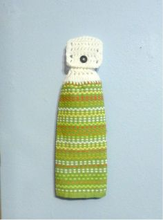 Hanging Kitchen Towel Mixed Colored Stripes Choice of Green or